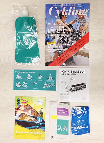 """Innehållet i """"tack för att du cyklar""""-påsen maj 2013"""