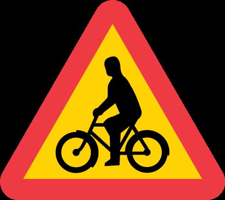 Varning för cyklande och mopedförare. Bilden från Trafikverket