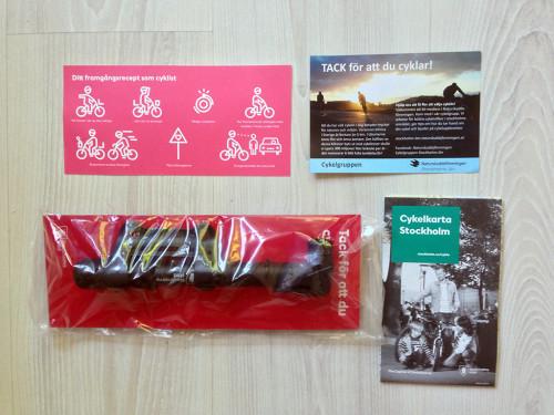 """Innehållet i vårens """"Tack för att du cyklar""""-påse 2014"""