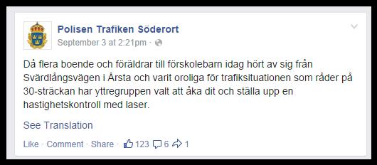 Polisen Trafiken Söderort Facebook