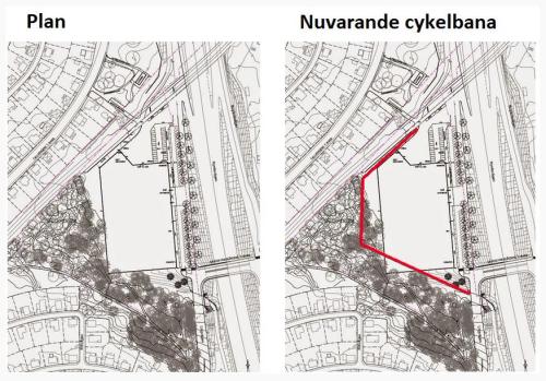 Planen och den nuvarande cykelbanan. Bild: Mikael Ordenius