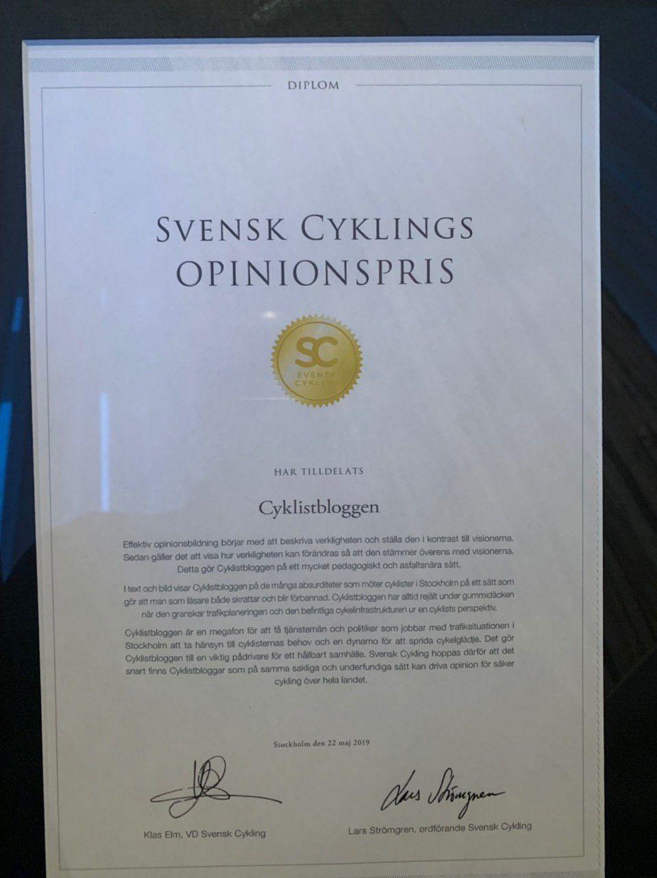 Cyklistbloggen har fått Svensk Cyklings pris som Årets Opinionsbildare 2019!